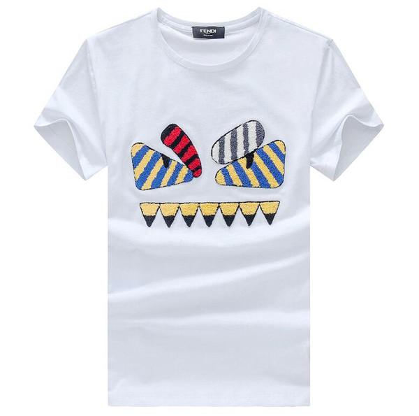 Moda Algodão Dos Homens Dos Desenhos Animados Tripulação Pescoço T-shirt FDI Verão Mangas Curtas Tees Casual Magro Hip Hop T-shiirt