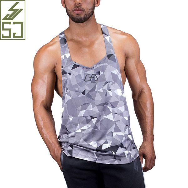 EEHCM 2017 Singlets Camuflaje Camisetas sin mangas Camisa Equipos de musculación Fitness hombres Golds GymStringer Y19042204