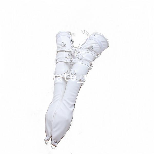 White Leather Sleeves Hands Restraint Kit Lace-Up Style Lockable Adjustable Belt Slave Fetish Bondage Sex Toy