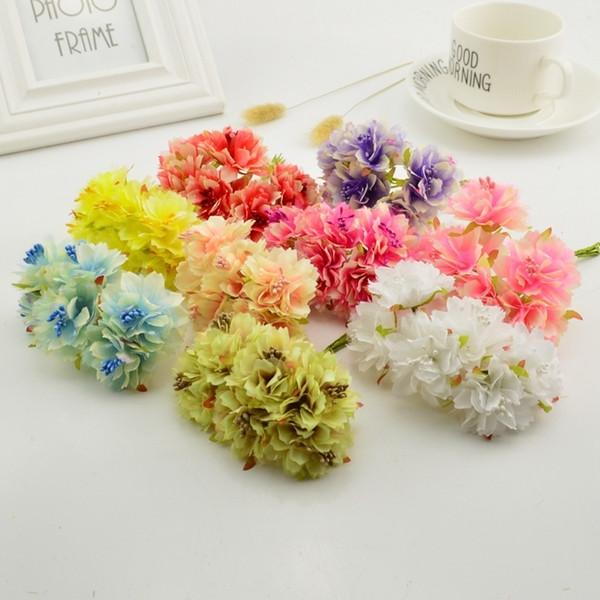 6 Pcs Bouquet Of Silk Carnations With Chiffon Stamen For Wedding Decoration Diy Scrapbooking Artificial Flower