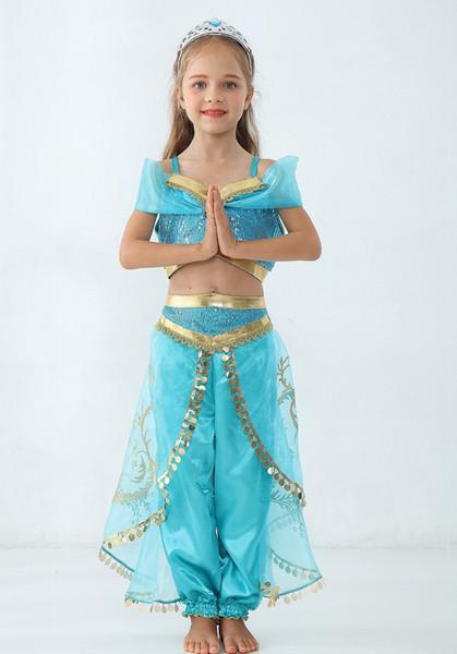 Aladdin Lampe Jasmin Prinzessin Kostüme Cosplay kleidung Halloween Kinder Party Prinzessin mädchen Bauchtanz Kleid 2 stücke
