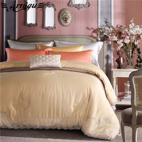 ARNIGU Lace Embroidery Quilt Tencel tribute silk fabric winter Throws Blanket soft Plaids warm Bedding Filler Queen King size