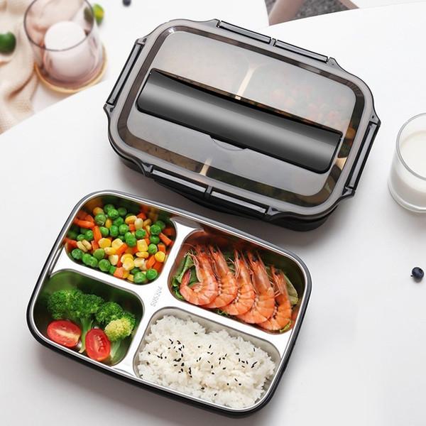 304 Edelstahl Lunch Box Set Students Geschirr Löffel Folk Bento Boxes Geschirr abnehmbares Tablett Kinder Nahrungsmittelbehälter T191014