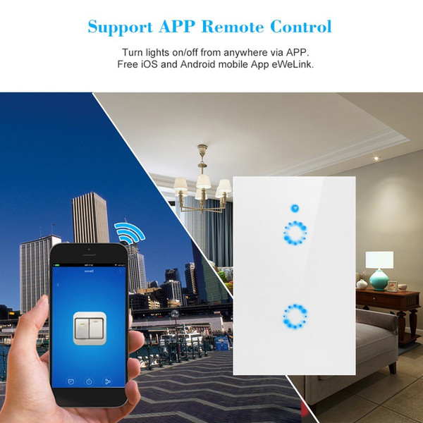 Smart Wifi Touch Wall Switch EU/US Plug RF/APP Wireless Remote Control Light Switches 1/2/3 Gang Glass Panel Controller
