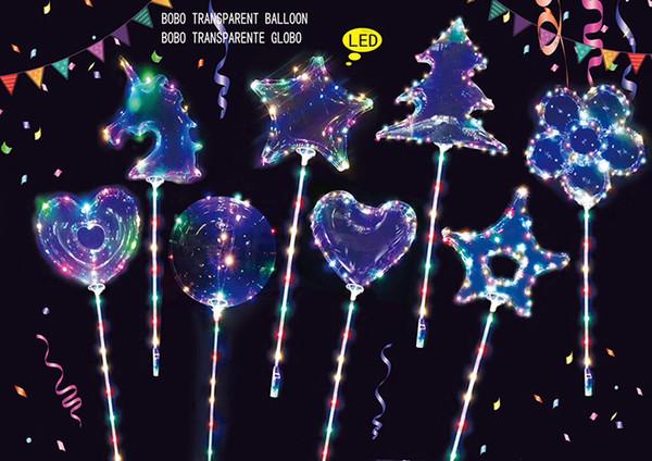 оптовое 20inch единорога бобо воздушный шар Четких Светящиеся светодиодные шары с 70см палкой Свадебной партии украшения Balloon формы дерева и звездами