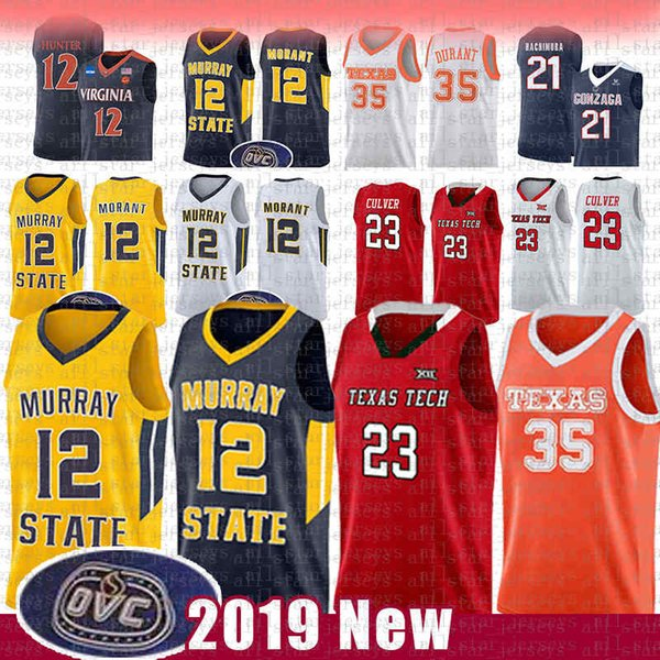 top popular 12 Ja Morant Murray State Racers University NCAA Basketball Jersey 23 Jarrett Culver 35 Kevin Texas Tech Red Raider Durant College JERSEY 2020