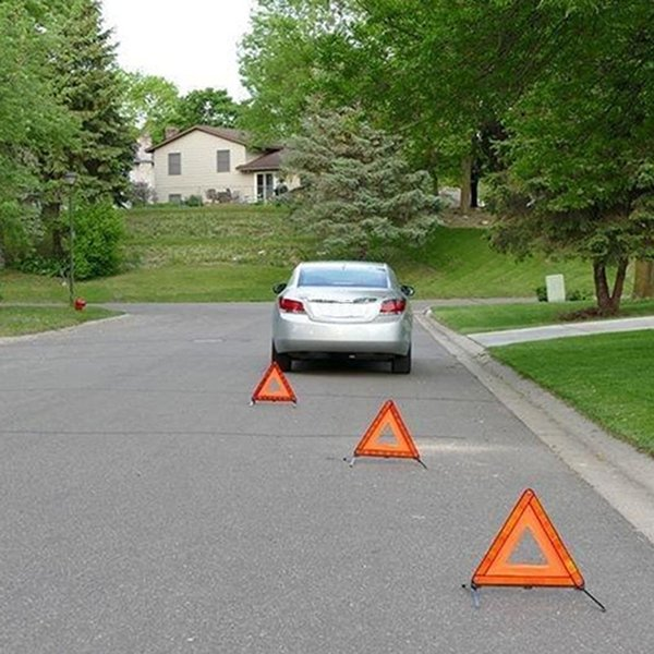 3pcs early warning road safety triangular kit reflective sign emergency signals jld