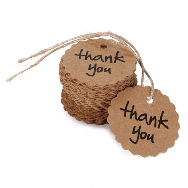 """Wholesale- Garland Edge Kraft Tags """"Thank You"""" Vintage Kraft Paper Label Gift Tags 4CM for DIY Wedding Decorations Paper Tags 100pcs"""