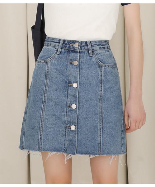Envío gratis Summer hot sexy girls botón de cintura alta jeans cortos falda para mujer joven dama pequeña mediana grande faldas de mezclilla