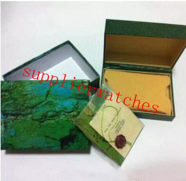 O envio gratuito de relógio de luxo mens para rolex caixa de relógio original outer outer womans relógios caixas homens relógio de pulso caixa verde booklet cartão 808