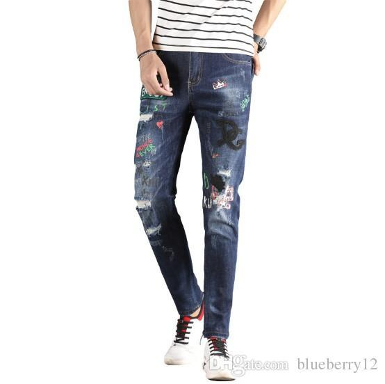 Mens Designer Jeans Fashion Style Brand Washed Letter Printing Mid Waist Pencil Pants Plus Size Free Shipping