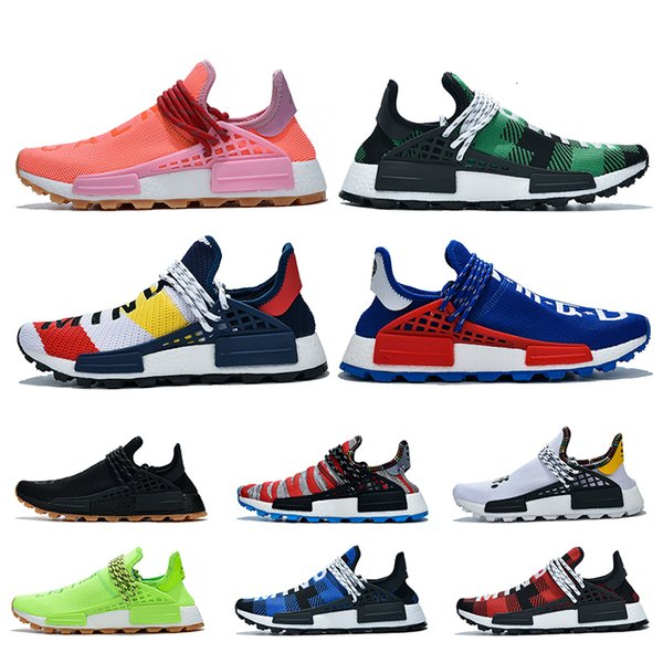 2019 Pharrell williams NMD Human Race for men women Trail Infinite Species Reflective BBC Blue Red Green Plaid Designer Trainers Sneakers