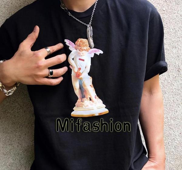 19ss США моды высокого качества лета Box Логотип Купидон Angel Статуя Tee скейтборд Mens конструктора тенниски женщин Street Luxury Casual T-shirt62