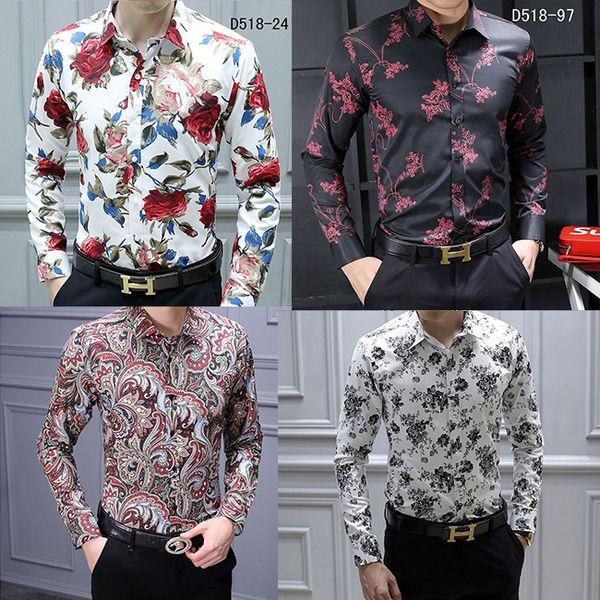 top popular HOT Brand Men's Casual Shirts Fashion Harajuku Dress Suit Shirt Men Luxury Slim shirt Medusa Black Gold Fancy 3D Print Slim Fit Shirts 2020