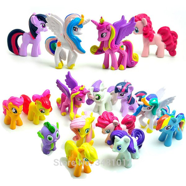 12 pcs/set 5CM my cute pvc lovely little ponis horse action toy figures dolls for girl birthday christmas gift