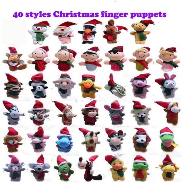 40 Noel Parmaklar Kuklalar peluş Noel Baba Noel Hayvanlar Noel Karakterler Kuklalar oyuncaklar Aile Parmaklar Ebeveyn-çocuk t ayarlar tasarımlar