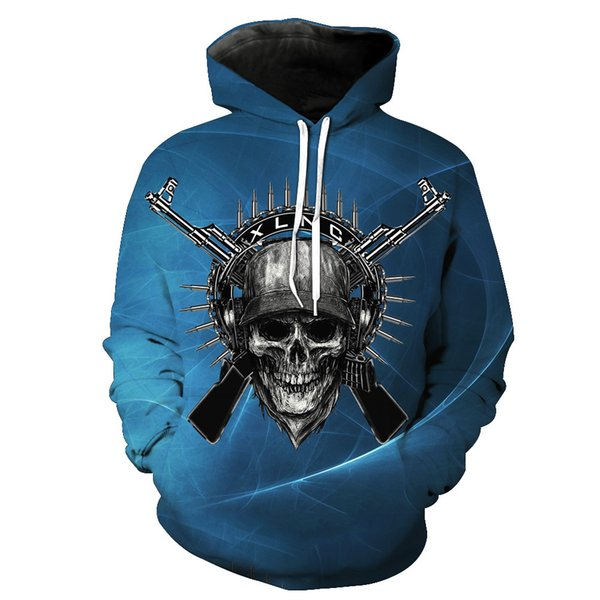 Europe and the United States foreign trade silver skull print hooded pocket pullover men's tide hooded men's clothing