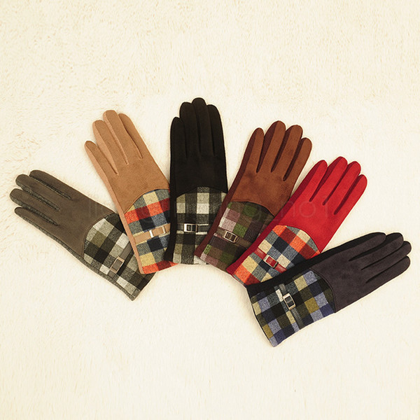 top popular 6Styles Plaid suede Gloves Women Cycling Mittens Winter Autumn Check Warmer Outdoor Drive Warm Mittens Grid finger Gloves 2pcs lot CYF-2966 2021