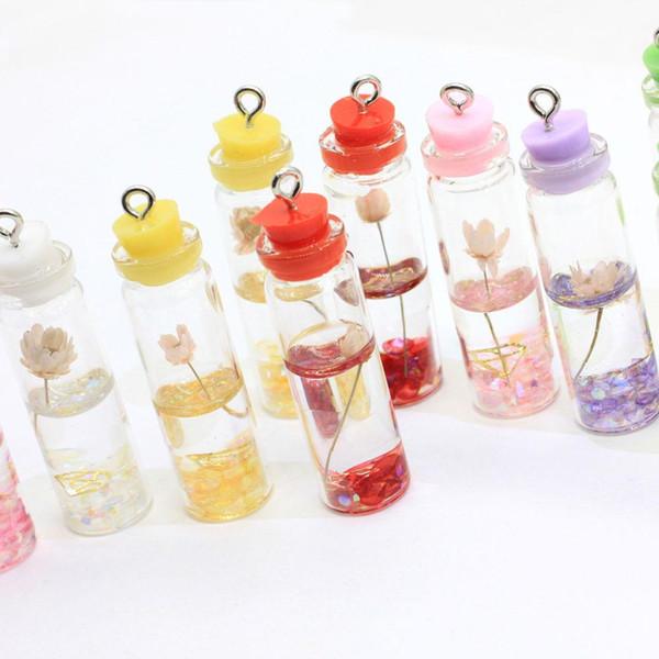 Assortiment de bouteilles en verre de fleur Charms Mini verre intérieur Lotus Décor Jar Collier Bijoux Pendentifs cadeau de mariage pour Little Girl