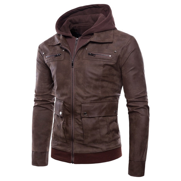 New Autumn Winter Men Casual Leather Jacket Bomber Stand Collar Polyester Jacket Motorcycle Zipper Pockets Outwear Hoodie Coat