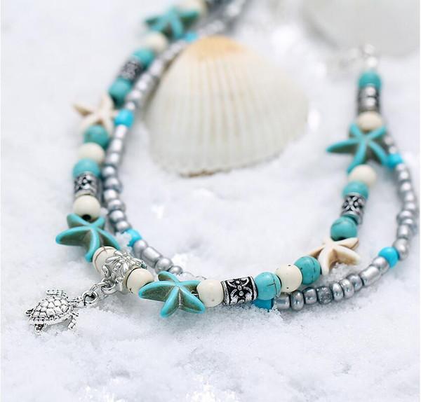 Vintage Shell Beads Estrella de Mar Tortuga Elefante Melocotón Tobilleras Del Corazón Para Las Mujeres Nueva Multi Capa Tobillera Pierna Pulsera Joyería Hecha A Mano Bohemio