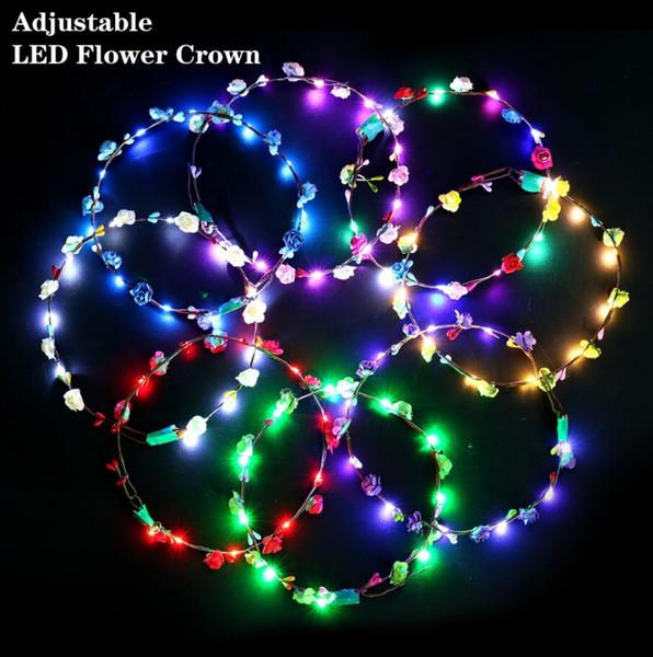 Clignotant LED bandeaux cordes lueur fleur couronne bandeaux lumière partie guirlande de cheveux guirlande lumineuse guirlande coiffe de mariage décorations de Hawaii