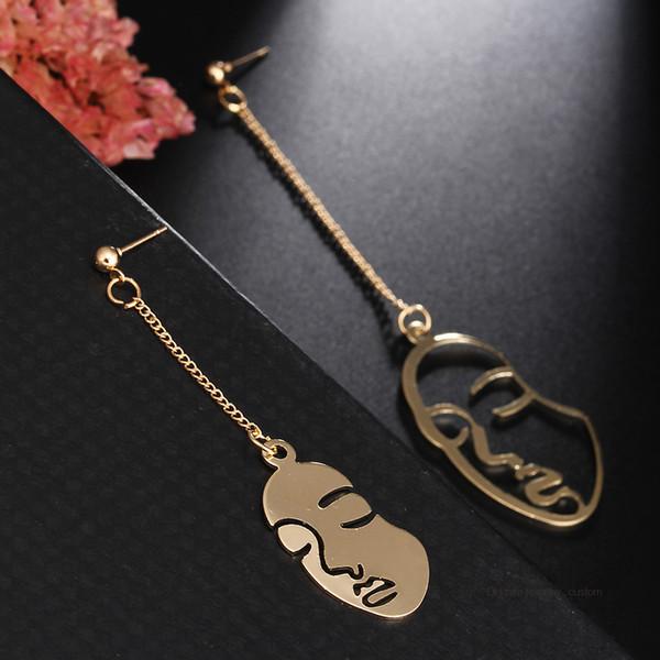 Simple Abstract Art Earrings Face Shape Sculpture Drop Earrings Personalized Statement Long Chain Earrings E0440
