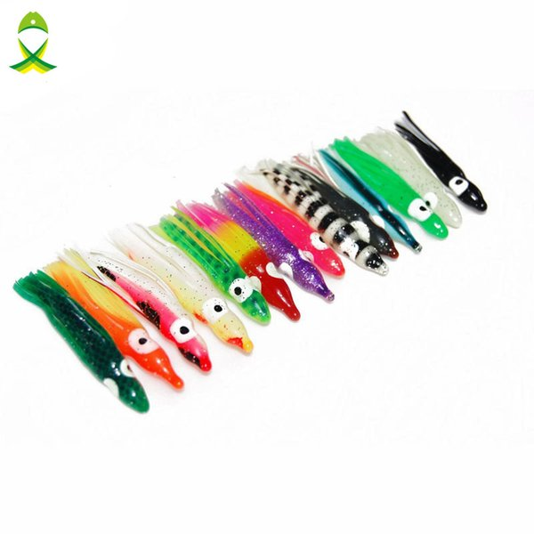 lure frog JSM 30pcs 5cm Soft Plastic Octopus Fishing Lures For Jigs Mixed Color Luminous Silicone Octopus Skirt Artificial Jigging Bait