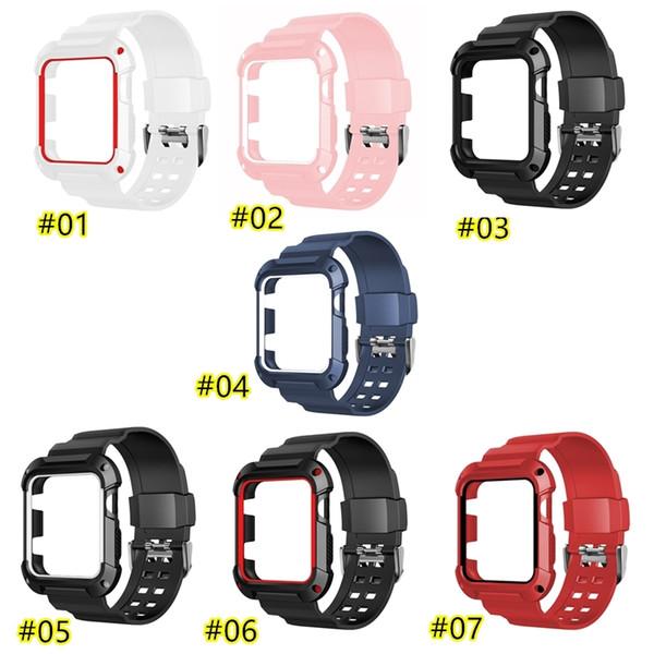 Sostituzione della fascia del silicone con la cassa per Apple Guarda Serie 1 2 3 4 5 42 millimetri 38 millimetri del braccialetto del polso Strap 7 Clolors opzionale