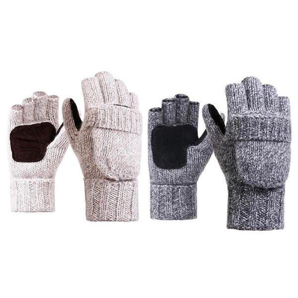 Knitted Half Finger Gloves Men Women Winter Warm Thick Flip Outdoor Gloves