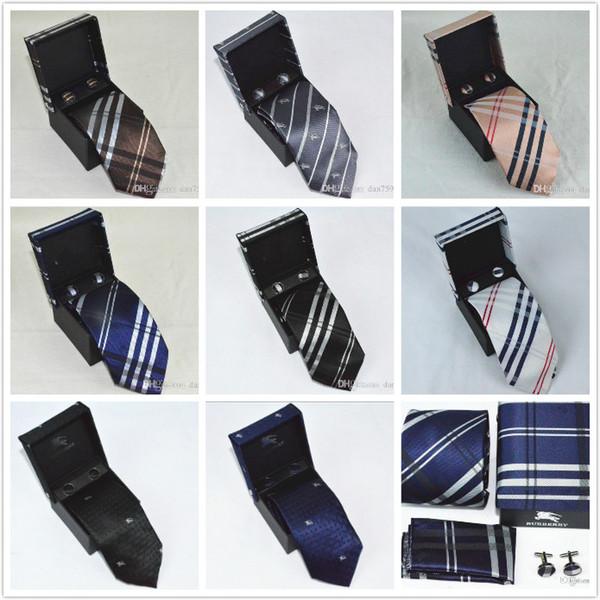 Auf Lager 8styles Mode Männer Krawatten berühmten Design berühmte Marke Krawatten Set Krawatte Manschettenknöpfe Hanky bur Marke Krawatten für Geschenk