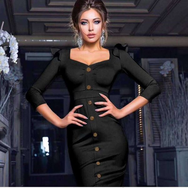 2019 Dress Sexy Elegant Full Button Slit Single-Breasted Women Square Collar Night Club Bandage Body con Party Dresses Wholesale