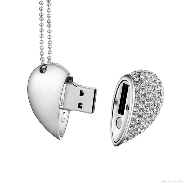 100% Real Capacity Crystal Heart USB 2.0 Flash Drive Memory Stick 16GB~128GB Pendrive with Necklace