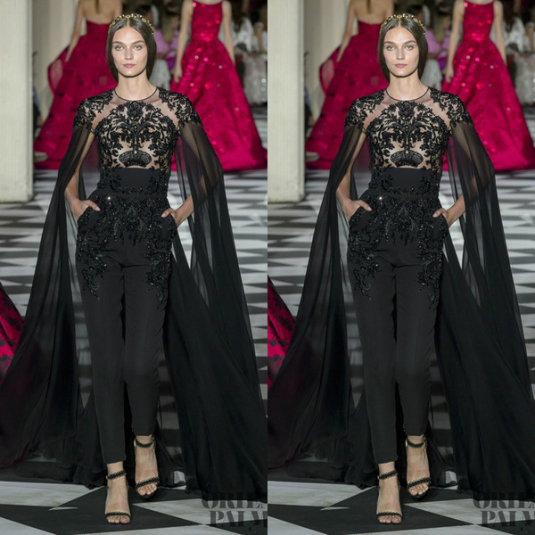 Black Jumpsuits Evening Dresses With Cape Jewel Neck Lace Appliqued Beads Dubai Prom Gowns Zuhair Murad Long Formal Party Dress