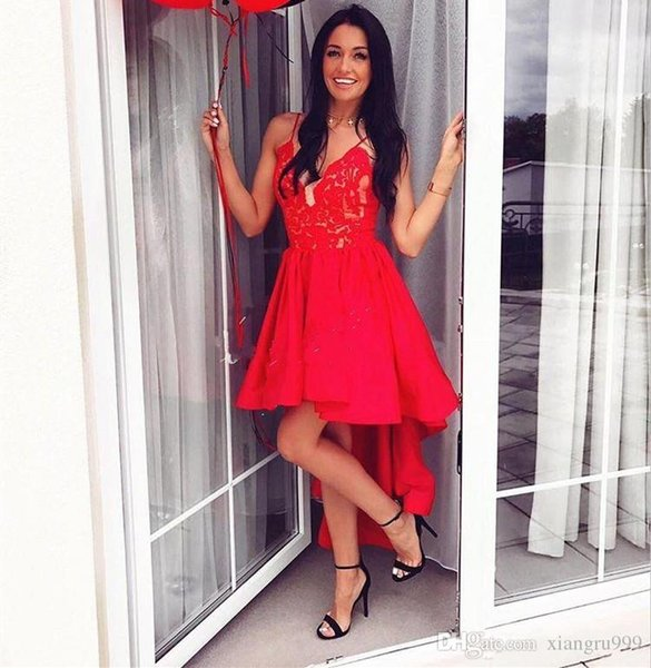 Red Spaghetti Lace High Low Prom Dresses Sheer Illusion Deep V-Neck Evening Gowns Custom Made A-Line Special Occasion Dress