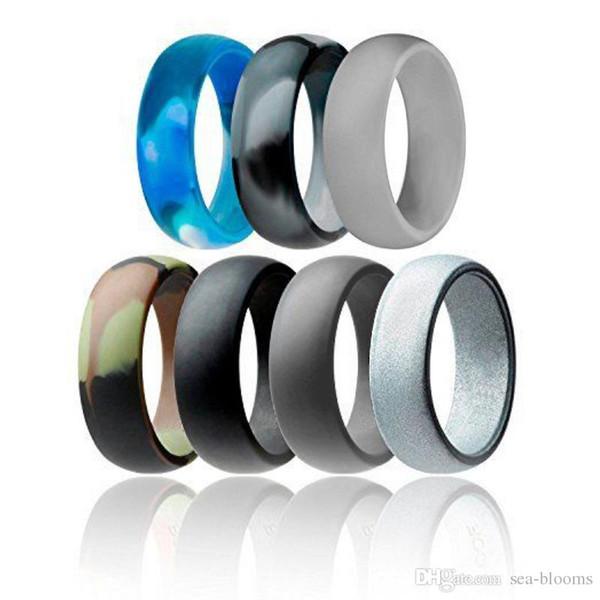 Neue Silikon Ehering Flexible Silikon O-ring Hochzeit Komfortable Fit Leichter Ring Multicolor für Frauen Männer Schmuck Geschenk H492F