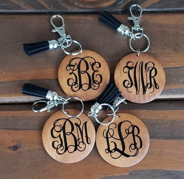 top popular Personalized wood disc keychain monogram monogrammed wooden disc with tassel keychainmonogrammed wooden blank round with black tassel keych 2020