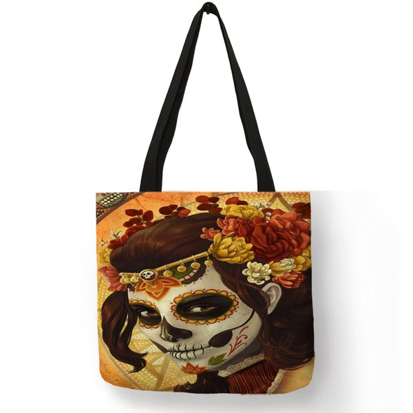 Cool Floral Skull Girl Women Tote Bag Linen Shopping Bags With Customized Double Side Print Halloween Handbags Traveling Totes