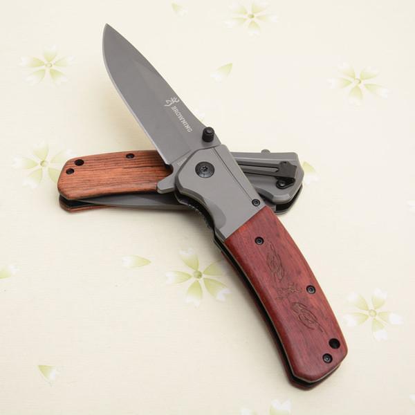 Noel hediyesi Browning Flipper Bıçak 3Cr15 56HRC Blade EDC Katlanır Cep Bıçaklar Ahşap Saplı 4.92