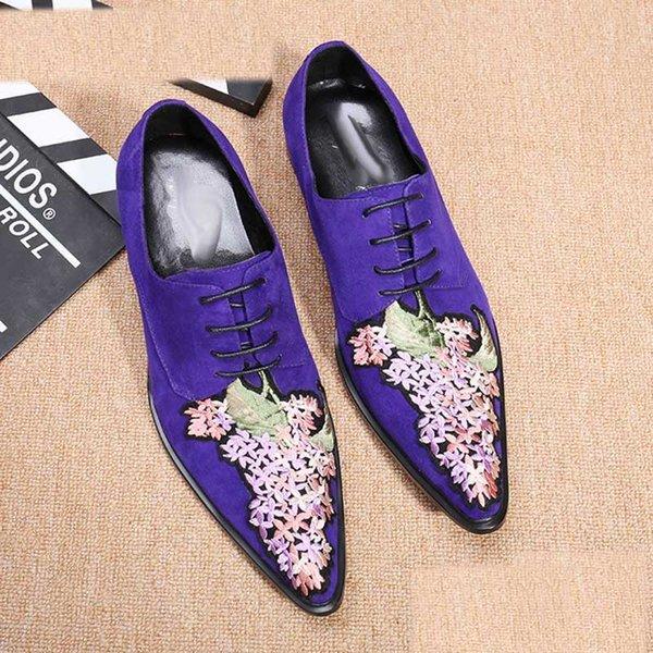 Apontou Toe zapatos de hombre Moda Italiana Escuro Azul dos homens Sapatos de Vestido de Negócios Formais Flock Shoes Flor Bordados, EU38-46!