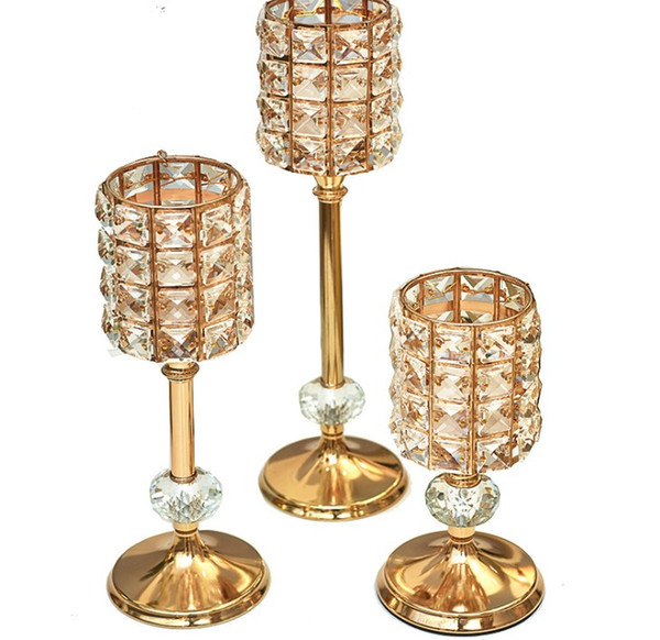 Romantic Candlebra candle stand holder Crystal Candle cup dinner decoration table centerpieces home crafts feather vase Candlestick decor