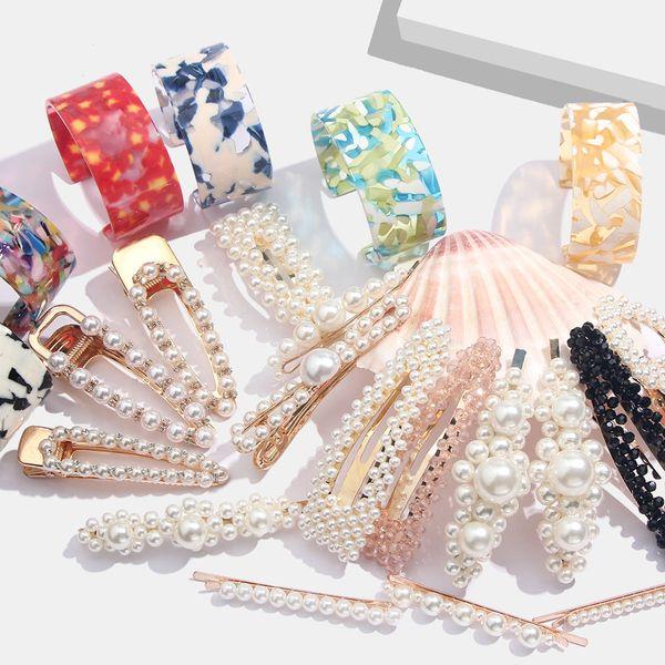 Flatfoosie Fashion Simulated Pearl Hair Clips Pins For Women Gold Color Wedding Barrette Elegant Korean Hair Clip Styling Tools