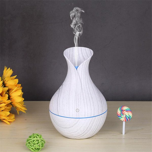 USB Ultrasonic Air Humidifier Wood Grain Aroma Essential Oil Diffuser Nebulizer with 7 Colors LED Light humidifiers for Home Office
