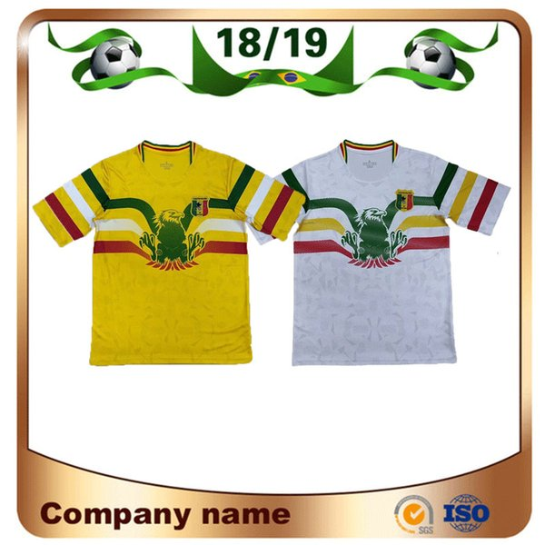 Novità 2019 Mali Soccer Jerseys 19/20 Mali Home White Away giallo Calcio Maglie manica corta personalizzata National Football Uniform