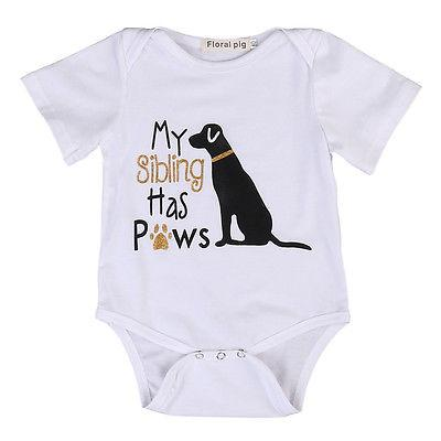 Cotton Toddler Infant Baby Boys Girls Short Sleeve Cute Dog Romper Jumpsuit Clothes