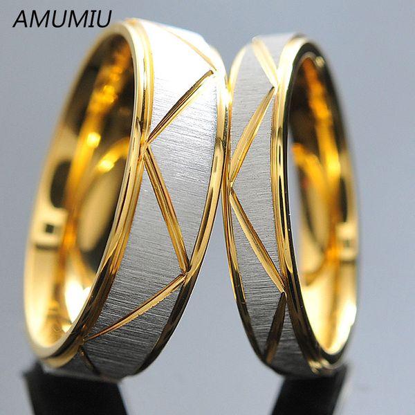 Cor do ouro para homens 6 milímetros Largura