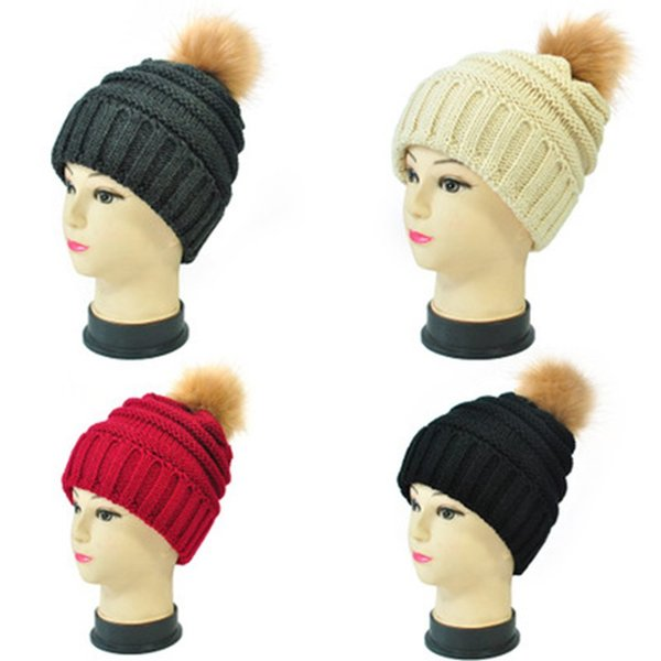 17 Colors Pompom Beanie hats Wool Tie Ball Knitted Caps Fashion Women Winter Warm Hat Weave Beanies Hat Casual Cap ZZA1413-5