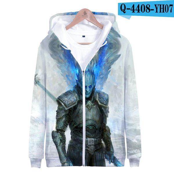 Bianco Walkers Il Re Night Stampa Game of Thrones 3D Giacche 2019 inverno Felpe Hip Hop caldo uomini incappucciati Plus Size cappotto degli uomini