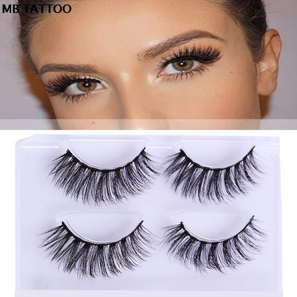100% 2 Pairs 3d Lashes Packing Natural Thick Crisscross False Eyelashes Pure Handmade Cotton Stalk Fake Eye Lashe