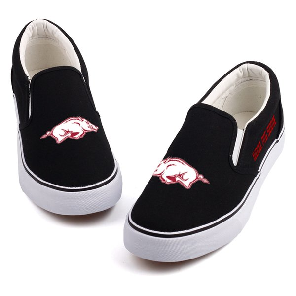 Black White Casual Canvas Shoes Slip On Customize US College Students Leisure Walking Shoes Women Flat Loafers Tenis Espadrille